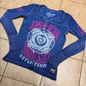 Affliction thermal button Henley size M